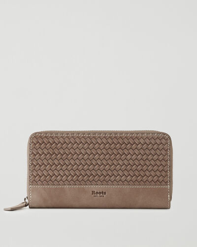 Roots-Leather Wallets-Zip Around Clutch Woven-Fawn-A