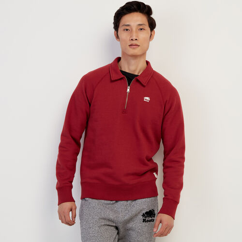 Roots-Men Clothing-Original Zip Polo-Rosewood-A