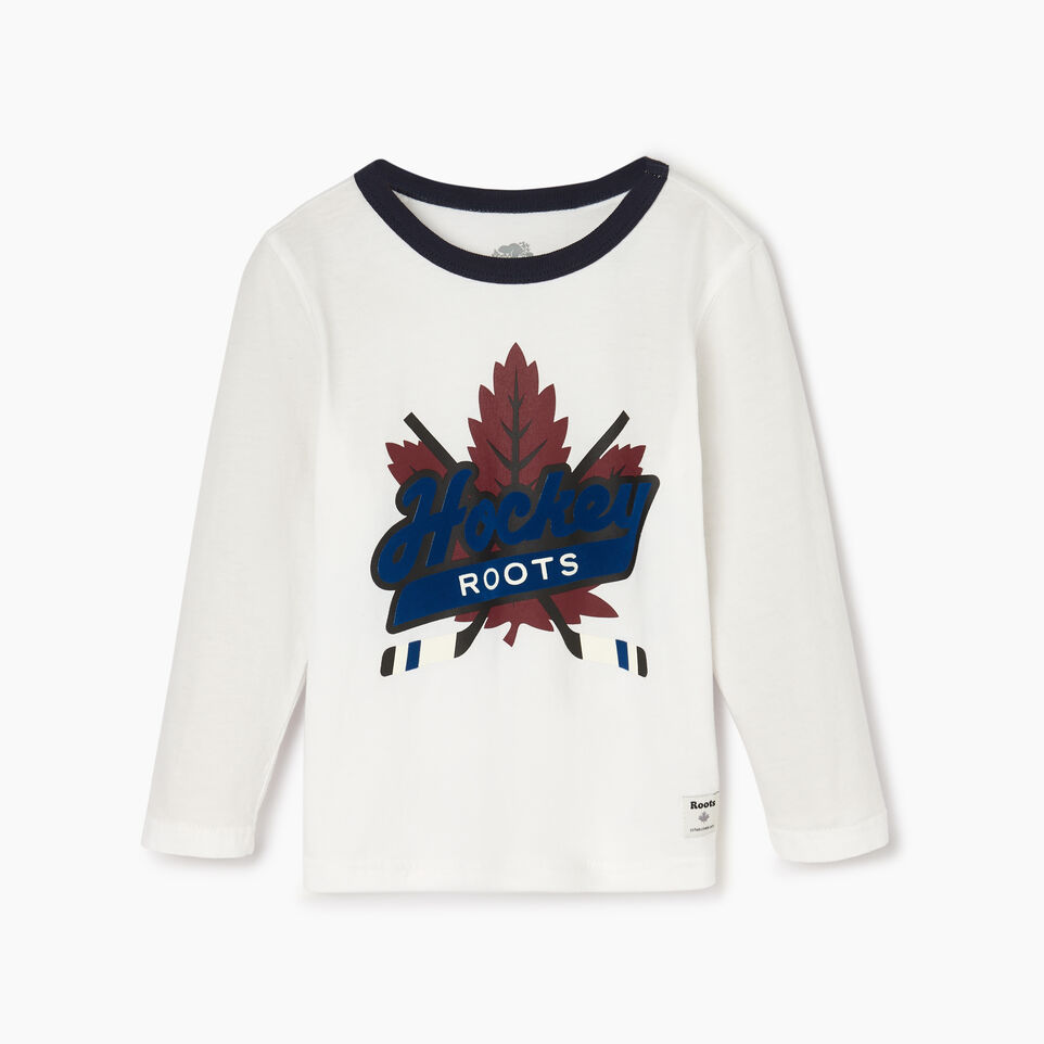 Roots-Sale Kids-Toddler Roots Hockey T-shirt-Ivory-A