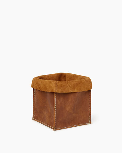Roots-Articles En Cuir Maison Roots-Moyen panier en cuir Tribe-Nature-A