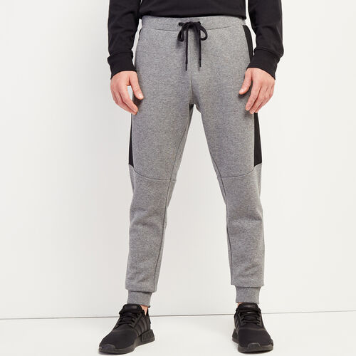 Roots-New For November Journey Collection-Journey Blocked Slim Jogger-Salt & Pepper-A