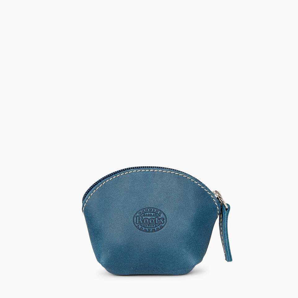 Roots-Leather Categories-Small Euro Pouch-Teal Green-B