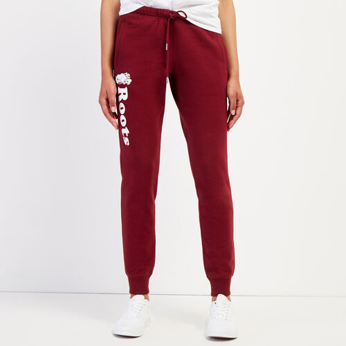 Roots-Women Sweatpants-Remix Slim Cuff Sweatpant-Mulberry-A