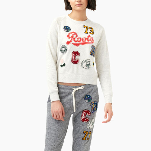 Roots-Women Sweats-Varsity Roots Patches Crew Sweatshirt-White Mix-A