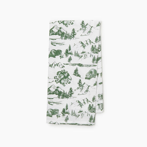 Roots-New For November General Store-Cabin Toile Tea Towel-Park Green-A