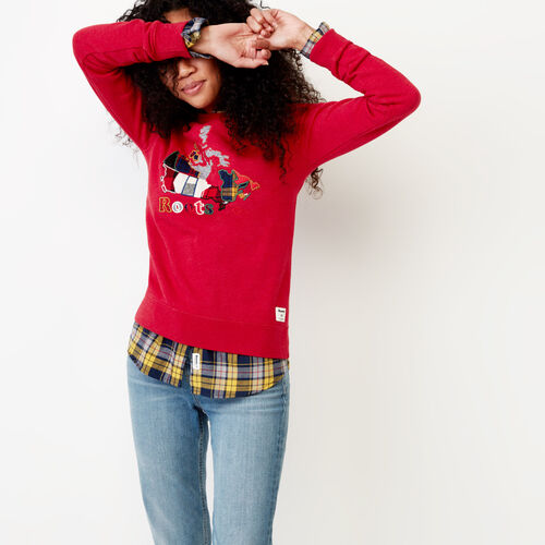 Roots-Women Our Favourite New Arrivals-Canada Plaid Crew Sweatshirt-Cabin Red Mix-A