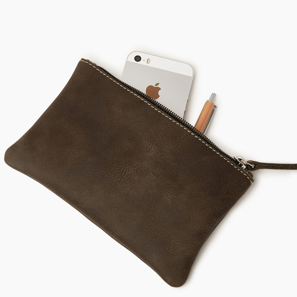 Roots-Leather Categories-Medium Zip Pouch-Pine-B
