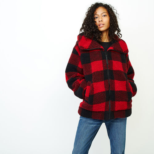 Roots-Women Outerwear-Park Plaid Sherpa Jacket-Lodge Red-A