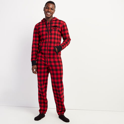 Roots-Men New Arrivals-Park Plaid Onesie-Cabin Red-A