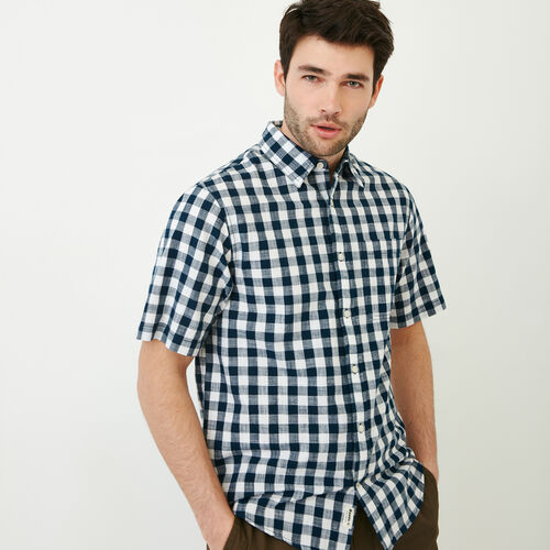 Roots-New For June Plaids-White Pine Short Sleeve Shirt-Navy Blazer-A