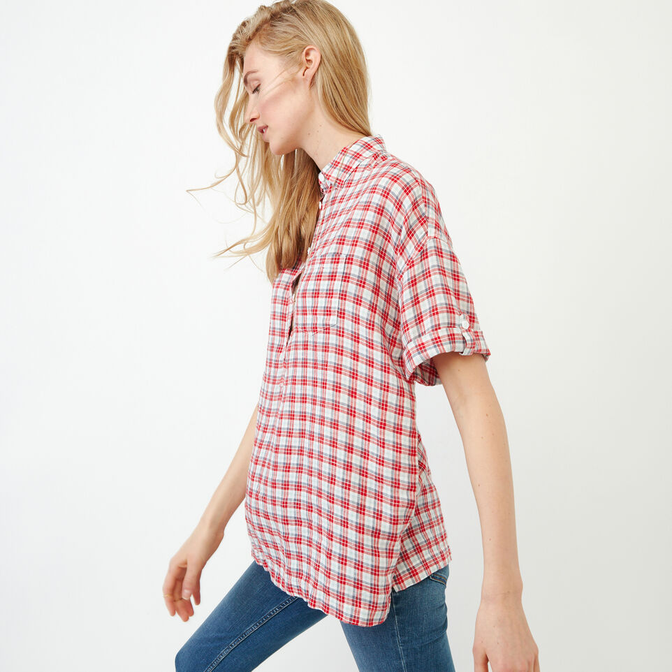 Roots-Women Our Favourite New Arrivals-Rivieres Popover Shirt-Racing Red-C