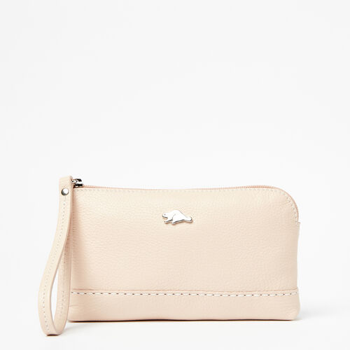 Roots-Women Leather Accessories-Funky Zip Pouch Prince-Blush-A