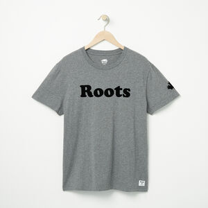Roots-Men Graphic T-shirts-Mens Roots Wordmark T-shirt-Med Grey Mix-A