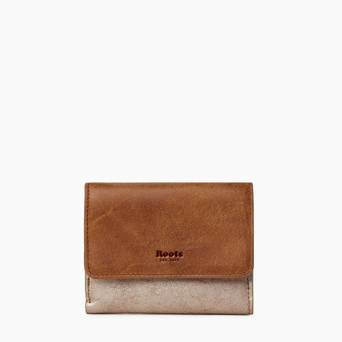 Roots-Leather Our Favourite New Arrivals-Medium Tab Wallet-Champagne/ Natural-A