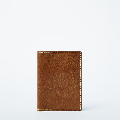 Roots-Leather Travel Wallets-Passport Wallet Tribe-Natural-A