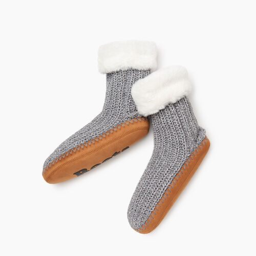 Roots-Women Socks-Chenille Slipper Sock-Salt & Pepper-A