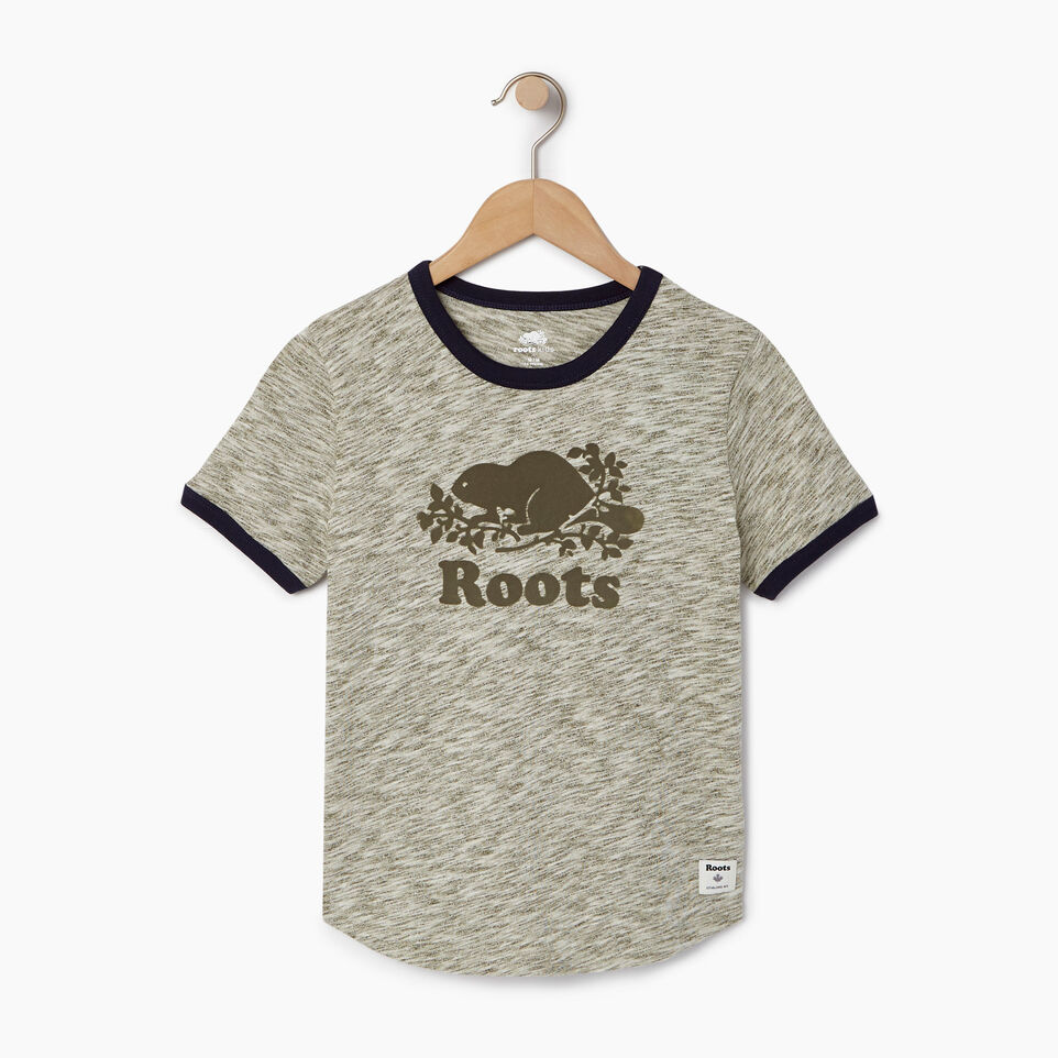 Roots-New For August Kids-Boys Roots Space Dye T-shirt-Winter Moss Green-A
