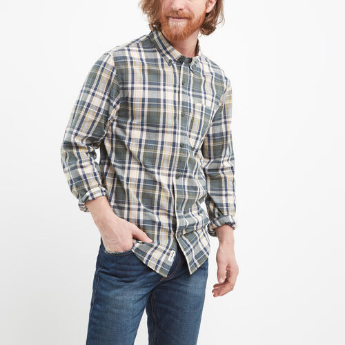 Roots-Winter Sale Tops-Madras Long Sleeve Shirt-Mountain View Green-A