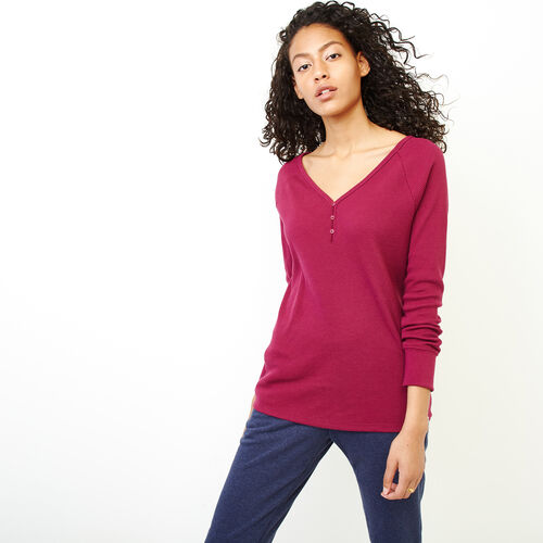 Roots-Women Tops-Kinuso Henley Top-Purple Potion-A