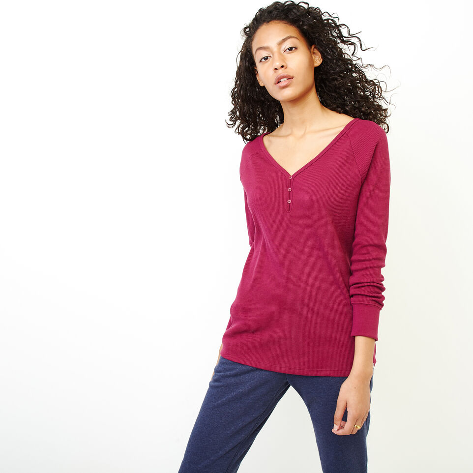 Roots-Women Clothing-Kinuso Henley Top-Purple Potion-A