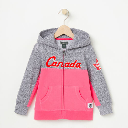 Roots-Kids Tops-Toddler Heritage Script Full Zip Hoody-Pink Flambé-A