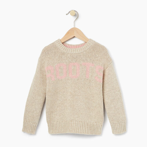 Roots-Kids Tops-Toddler Vault Crew Sweater-Flaxseed Mix-A