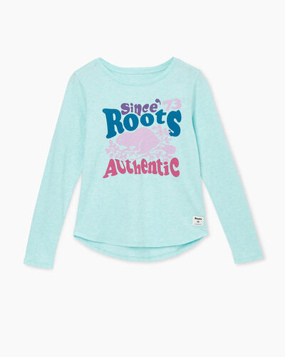 Roots-Sale Girls-Girls Roots Authentic T-shirt-Bleached Aqua Mix-A