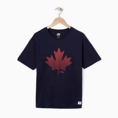 Roots-Men Graphic T-shirts-Mens Setting Maple T-shirt-Navy Blazer-A