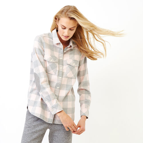 Roots-Women Tops-Park Plaid Shirt-Pink Mix-A