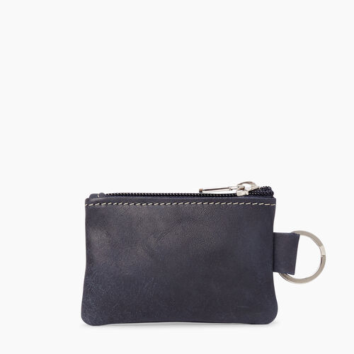 Roots-Leather  Handcrafted By Us Leather Accessories-Top Zip Key Pouch Tribe-Dark Navy-A