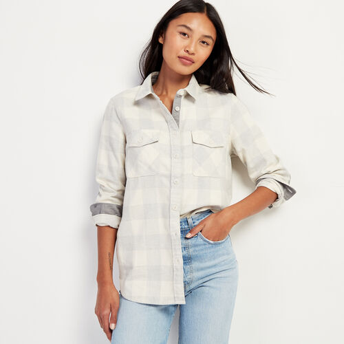 Roots-Women Shirts-Roots Park Plaid Shirt-Birch White-A
