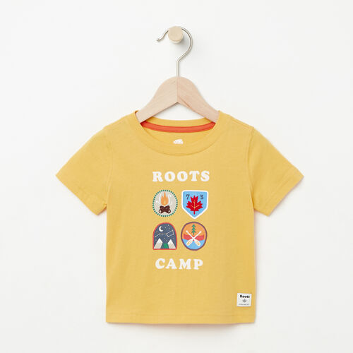 Roots-Kids Baby-Baby Camp Canada T-shirt-Sunset Yellow-A