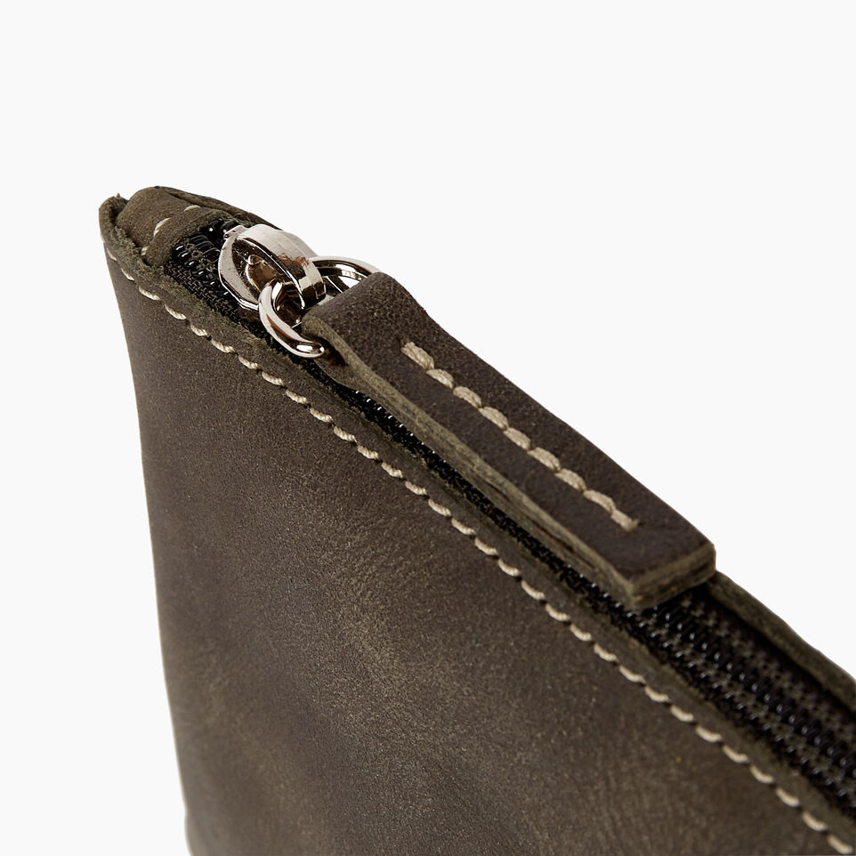 Roots-Leather Categories-Medium Zip Pouch-Pine-D
