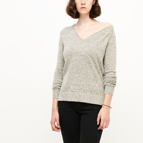 Roots-Clearance Women-Snowy Fox V Neck Sweater-Snowy Fox-A