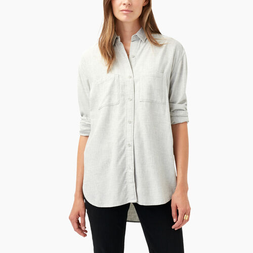 Roots-Sale Women-Novelty Arria Boyfriend Shirt-Light Grey Mix-A
