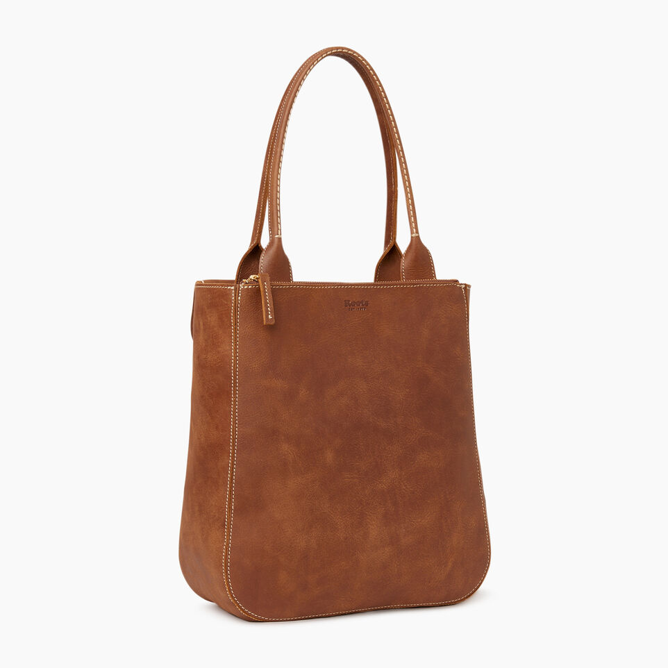 Roots-Leather Our Favourite New Arrivals-Tall Riverdale Tote-Natural-C
