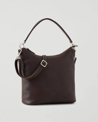 Roots-Leather Leather Bags-Ella Bag Cervino-Chocolate-A