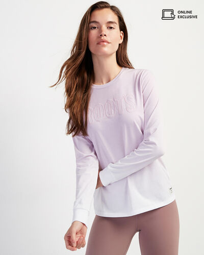 Roots-New For February Journey Collection-Womens Dip Dye Journey Long Sleeve T-shirt-Fair Orchid-A