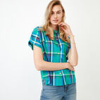 Roots-Women Categories-Alder Flat Madras Shirt-Sea Green-A