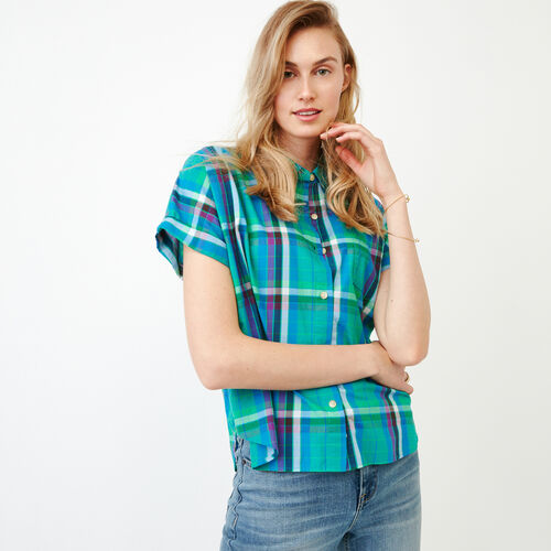 Roots-Clearance Tops-Alder Flat Madras Shirt-Sea Green-A