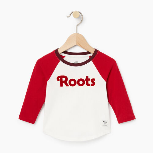 Roots-Clearance Kids-Baby Roots Raglan Top-Cabin Red-A