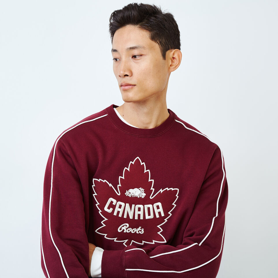 Roots-Men Collections-Mens Canada Crew Sweatshirt-Northern Red-E