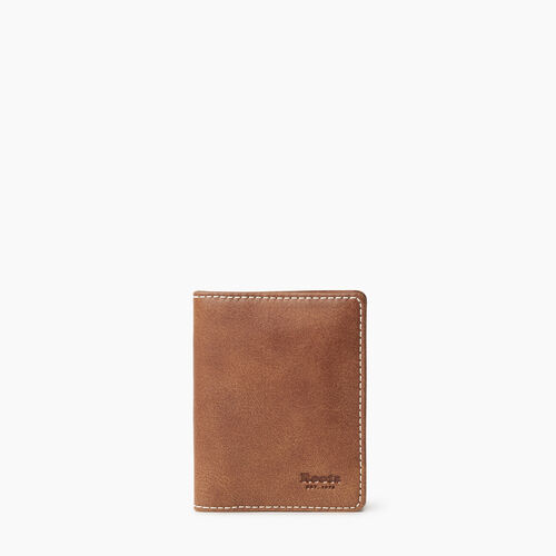 Roots-Leather Men's Wallets-Money Clip Bifold Tribe-Natural-A
