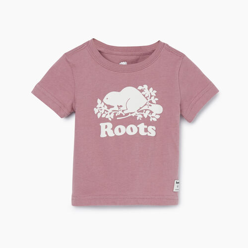 Roots-Kids New Arrivals-Baby Original Cooper Beaver T-shirt-Wistful Mauve-A