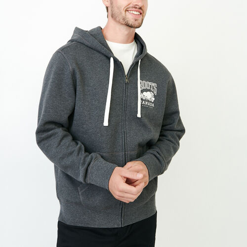 Roots-Men Sweats-Classic Full Zip Hoody-Charcoal Mix-A