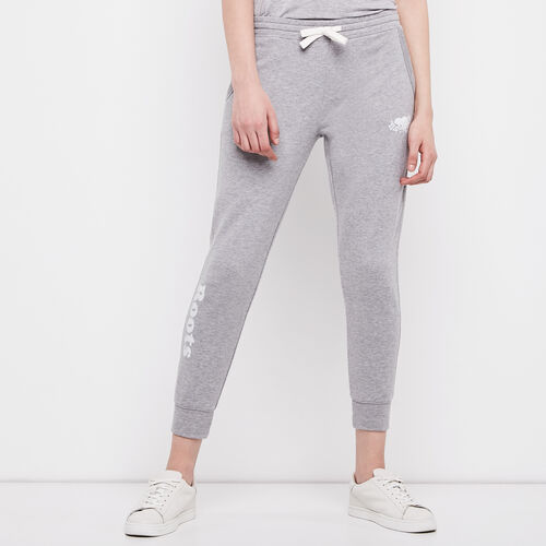 Roots-Women Cropped Sweatpants-Busted Cooper Crop Sweatpant-Grey Mix-A