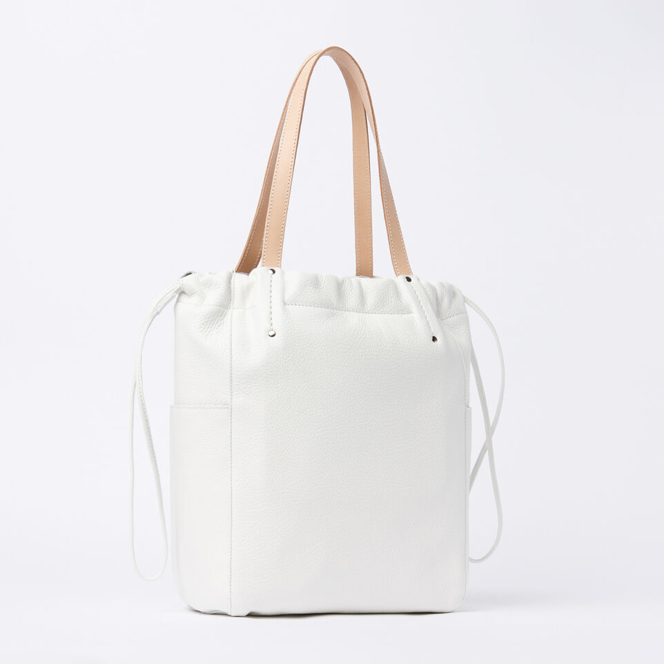 Roots-Winter Sale Leather-Drawstring Tote Prince-White-C