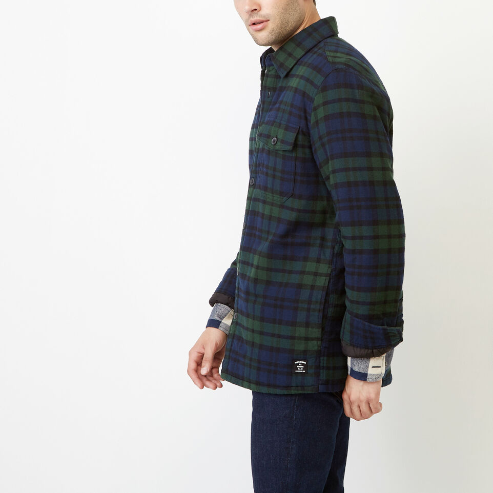 Roots-Winter Sale Men-Ossington Quilted Flannel Shirt-Green Gables-C