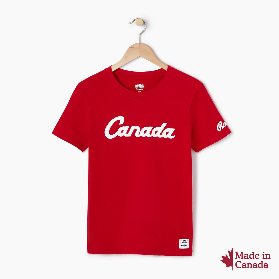 Roots-New For August Canada Collection By Roots™-Womens Canada T-shirt-Sage Red-A