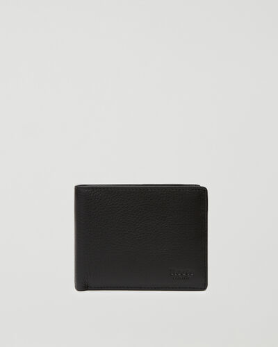 Roots-Leather Men's Wallets-Mens Slimfold Wallet With Side Flap Prince-Black-A